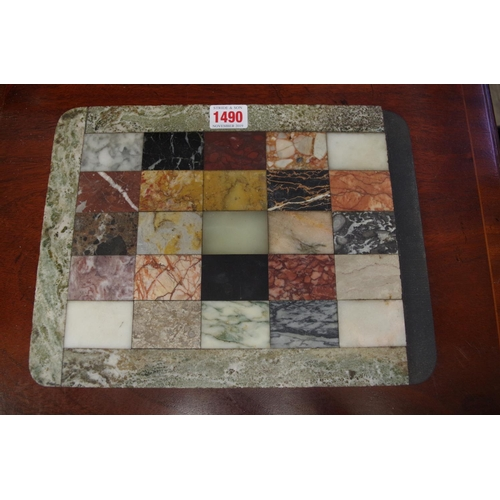 1490 - <strong>A specimen marble panel, </strong>30cm wide, (part lacking)....