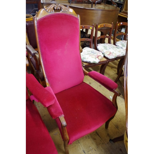 1510 - <strong>A 19th century walnut and upholstered open arm occasional chair;</strong> together with anot...