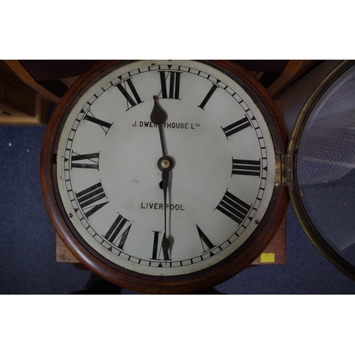 1526 - <strong>A Victorian mahogany circular wall clock,</strong>with single fusee, the 12in painted ...
