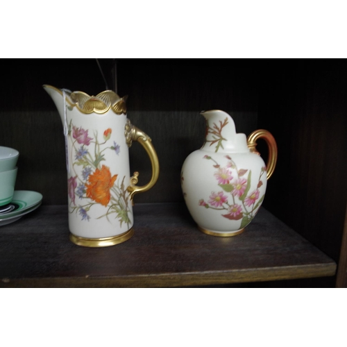 1536 - <strong>Two Victorian Royal Worcester blush ivory jugs,</strong> Nos 1229 and 1094, 18.5cm and 15.5c...
