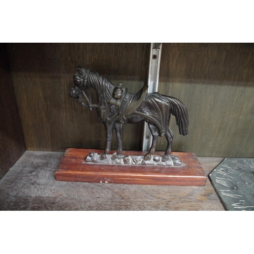 1538 - <strong>A pair of bronze flatback horses,</strong>one stamped 'Crowley & Co, Manchester', ...