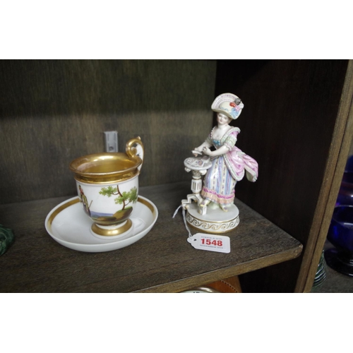 1548 - <strong>A Meissen figure of a lady,</strong> 16cm high; together with another 19th century continent...