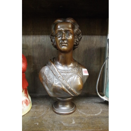 1602 - <strong>A bronzed bust of a lady,</strong>30cm high....
