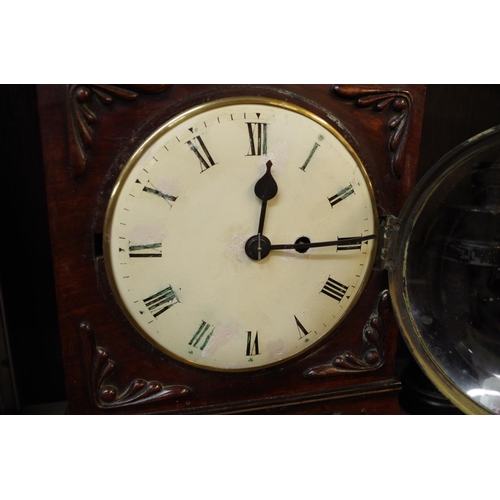 1614 - <strong>An early 19th century mahogany bracket type clock,</strong>with single fusee, 33.5cm h...