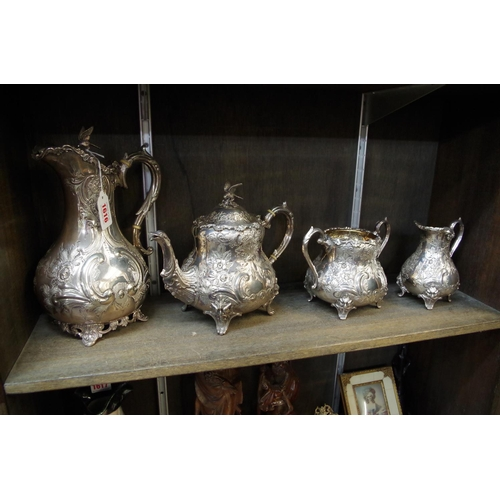 1616 - <strong>A Victorian silver electroplated four piece tea service, </strong>(variations to hot water j...