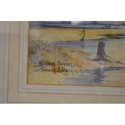 1623 - <strong>Thomas Sidney,</strong> 'Bosham', signed and dated 1924, watercolour, 19.5 x 44cm....