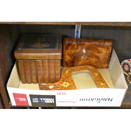 1633 - <strong>A Sorrento ware puzzle box;</strong> and two other treen items. (3)...