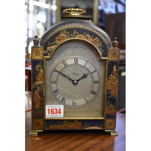 1634 - <strong>A vintage blue chinoiserie timepiece,</strong> the silvered dial inscribed 'Asprey', height ...