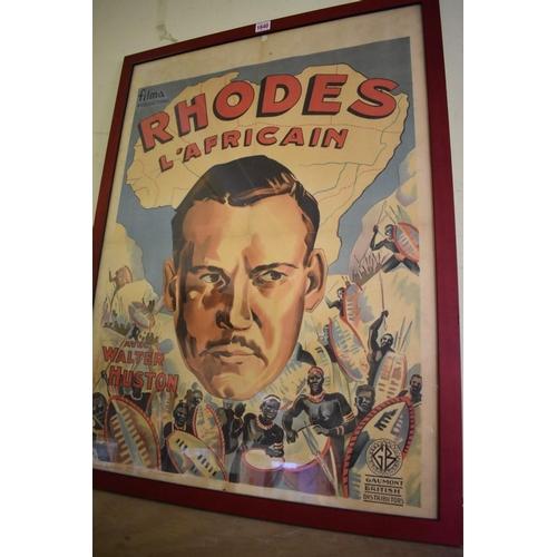 1640 - <strong>A vintage Belgium 'Rhodes L'Africain' film poster,</strong>83 x 61cm, framed....