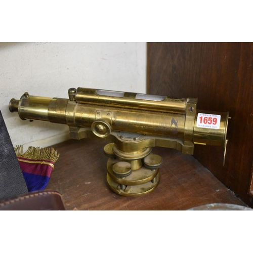 1659 - <strong>An old lacquered brass surveyor's level, </strong>inscribed 'Elliott Bros, 56 Strand, London...