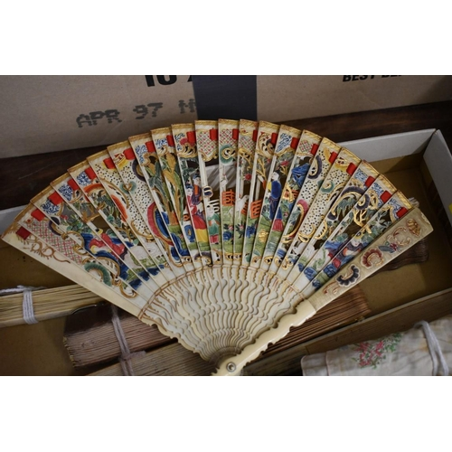 1666 - <strong>A group of fans,</strong>to include a tortoiseshell and painted silk example, in Duvelleroy...