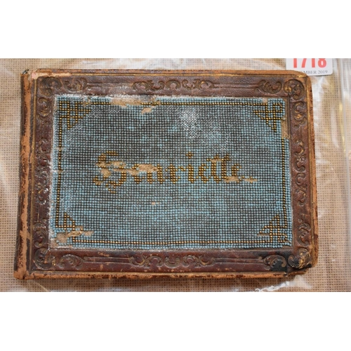 1718 - <strong>A Victorian album,</strong>the cover beadwork decorated with the name Henriette....