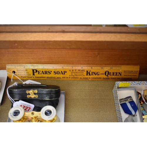 1728 - <strong>A World War I period 'Pears' Soap' advertising rule,</strong>35.5cm long; together with a p...
