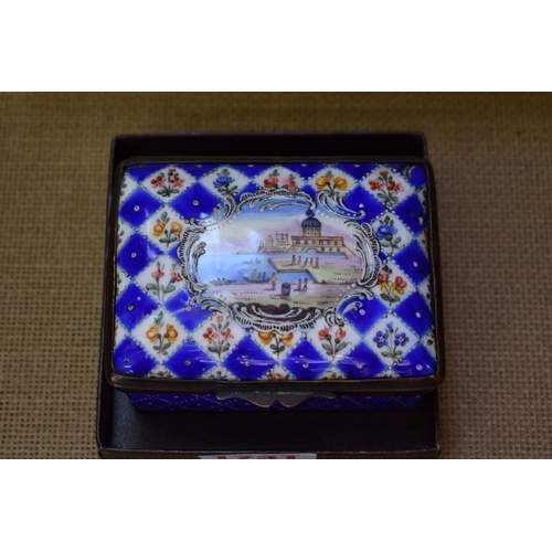 1731 - <strong>A late 18th/early 19th century Continental enamel casket,</strong> 9cm wide....