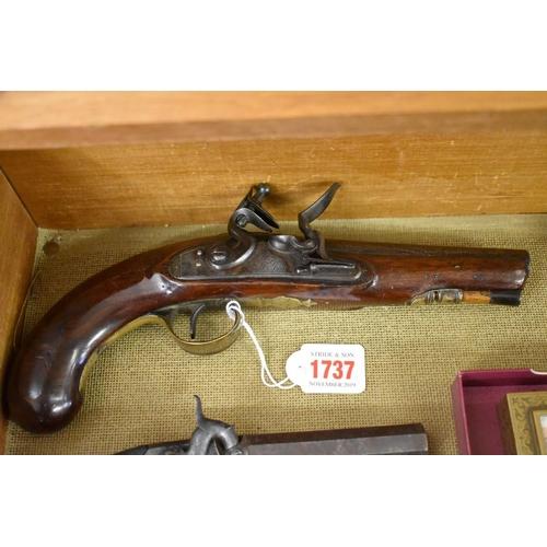 1737 - <strong>A 19th century flintlock holster pistol,</strong> the lock inscribed 'Wilson'....