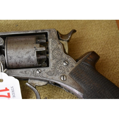 1739 - <strong>A Victorian percussion revolver,</strong>inscribed 'J W Edge, Manchester', No.19155 T, (mis...