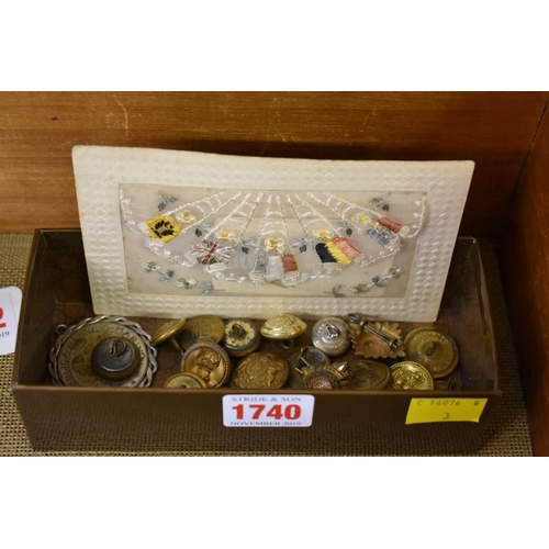 1740 - <strong>A collection of military buttons; </strong>together with a World War I silk postcard.&n...