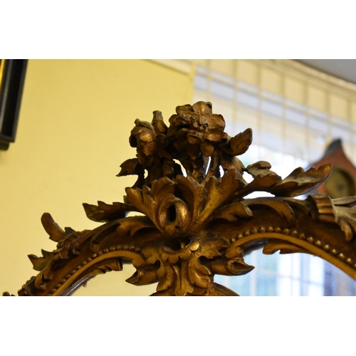 1777 - <strong>A good late 19th century carved gilt frame three fold screen,</strong>on hoof feet, 19...