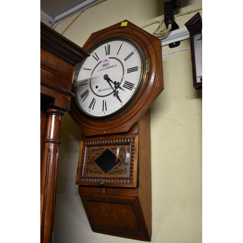 1796 - <strong>An American walnut octagonal drop dial wall clock,</strong>the 12in painted circular d...