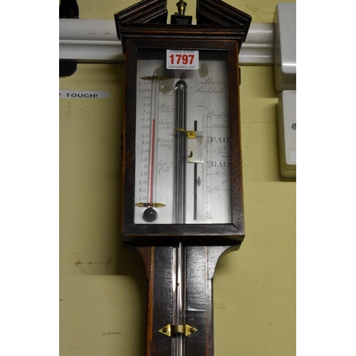 1797 - <strong>An antique mahogany and line inlaid stick barometer,</strong>the silvered dial inscrib...