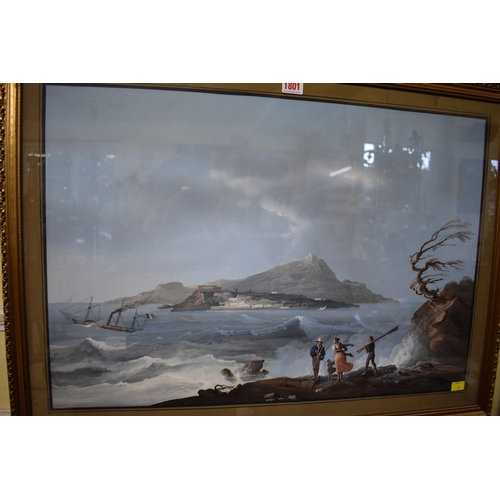 1801 - <strong>Neapolitan School,</strong>'Isole Flegree and Isole d'Ischia beyond', gouache, I.46.5 x 68c...