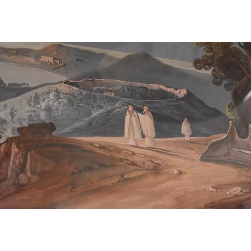 1802 - <strong>Neapolitan School,</strong>'The Bay of Naples from Mount Vesuvio', gouache, I.46.5 x 68cm....