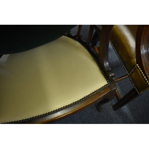 1812 - <strong>A circa 1900 mahogany armchair, </strong>with studded leather seat. ...