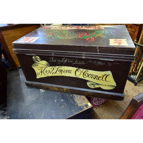 1820 - <strong>Ron Ackers Tattoo Artist:</strong>an interesting painted trunk, decorated by Ron Acker...