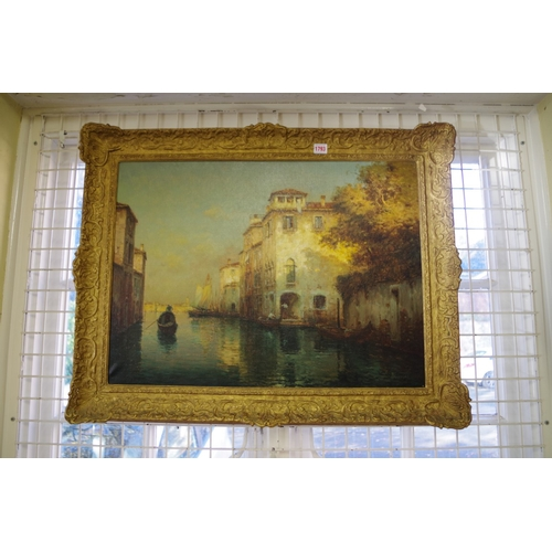 1793 - <strong>* Bouvard</strong>, a Venetian canal, signed, oil on canvas, 52 x 71cm....