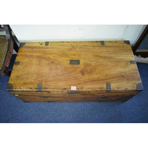 1819 - <strong>A 19th century camphor wood and brass bound chest, </strong>95cm wide. ...