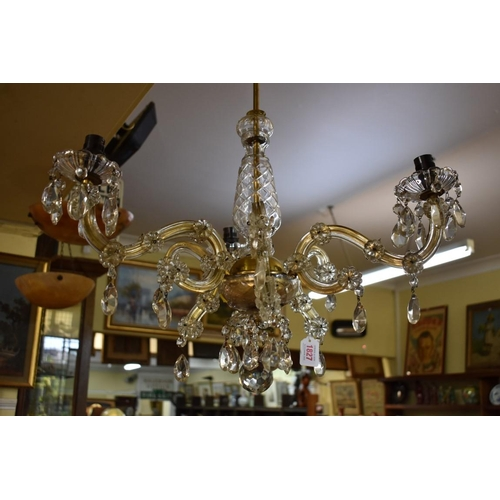 1827 - <strong>An old glass six branch chandelier. </strong>...