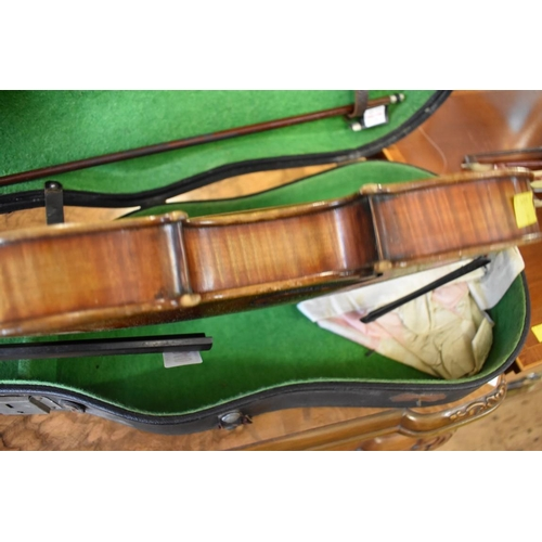 1840 - <strong>An antique Continental violin, </strong>labelled 'Antonius Stradivarius', with 14in two...