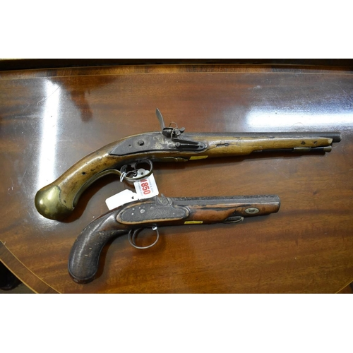 1850 - <strong>An 18th century British Long Sea Service flintlock pistol,</strong> dated 1759; together wit...