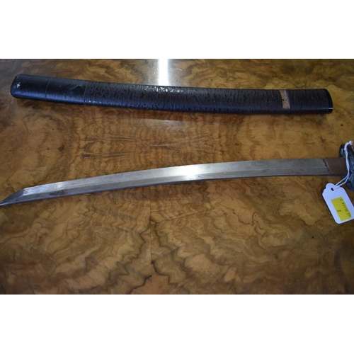 1852 - <strong>An old Japanese wakizashi and scabbard, </strong>36cm blade....