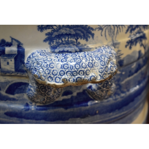 1473 - <strong>A Victorian blue and white twin handled foot bath, </strong>52.5cm wide....