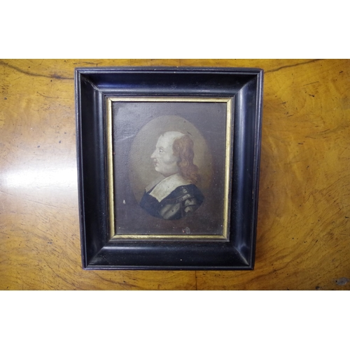 1776 - <strong>English School, </strong>17th/18th century, portrait miniature of Oliver Cromwell, labe...