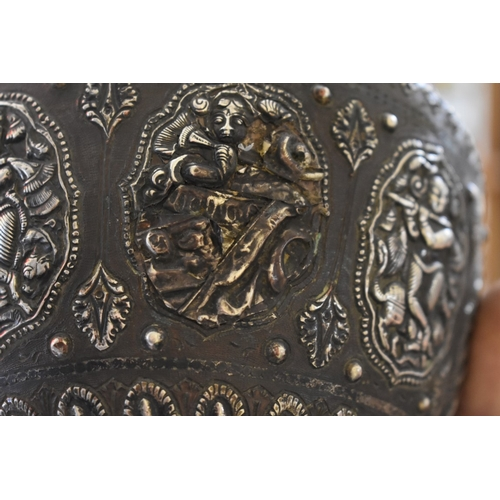 1572 - <strong>An Indian bronze and silvered lota vase,</strong> 19th century, relief decorated with panels...
