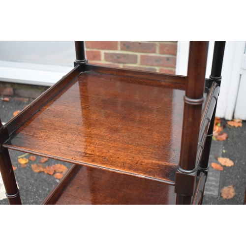 1790 - <strong>A good pair of George IV mahogany four tier whatnots,</strong>with simulated bamboo turning...
