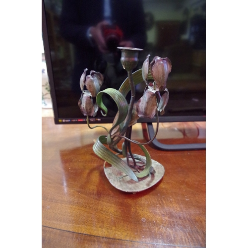 1682 - <strong>An Austrian cold painted bronze figural candlestick,</strong>modelled with a crane, 25cm....