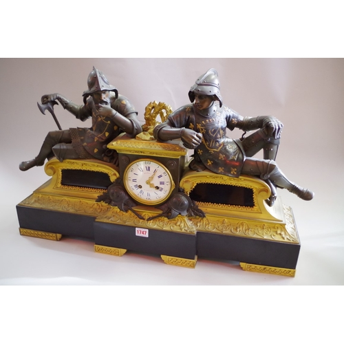 1747 - <strong>A large and impressive Napoleon III bronze, ormolu and slate figural mantel clock,</strong> ...