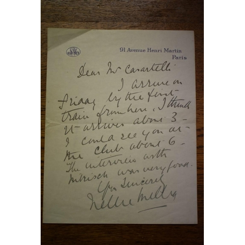 604 - <strong>NELLIE MELBA:</strong>ALS from Nellie Melba to one Mr Carantelli, undated, headed paper 91 ...