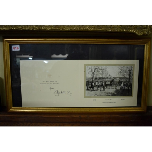 616 - <strong>QUEEN ELIZABETH THE QUEEN MOTHER:</strong>Christmas card for 1962, signed in black ink, fra...
