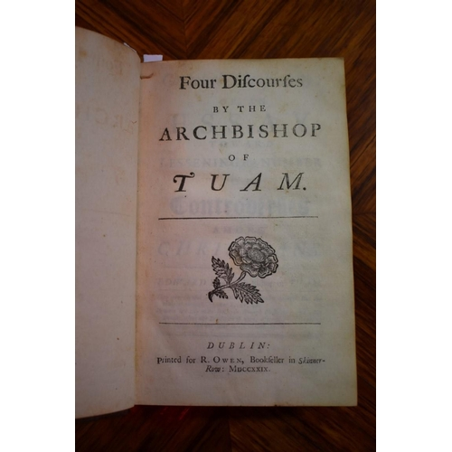 622 - <strong>(HP) SYNGE (Edward): </strong>'Four Discourses by the Archbishop of Tuam..' Dublin, printed ...