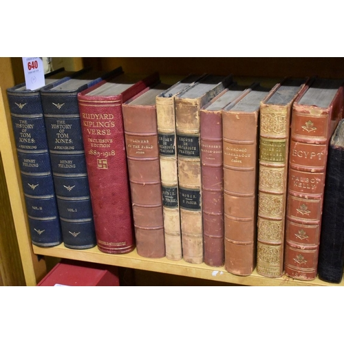 640 - <strong>(HP) BINDINGS: </strong>collection of 10 vols, 8vo, 19th-early 20thc, calf or morocco bound ...