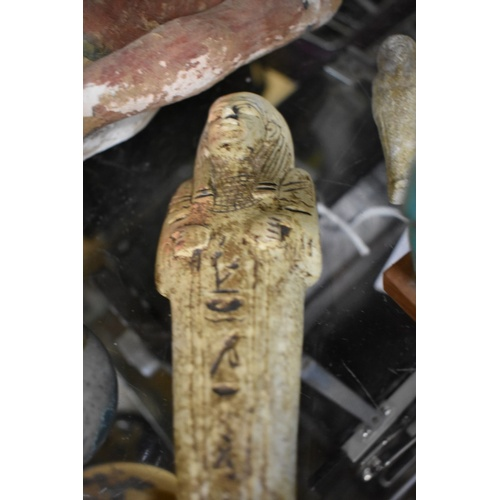 1655 - <strong>Antiquities:</strong> an interesting group of Egyptian items, to include a carved wood polyc...
