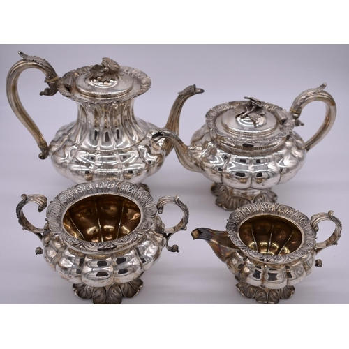 1 - <strong>A William IV silver four piece teaset,</strong> by <em>Richard William Atkins & William ...