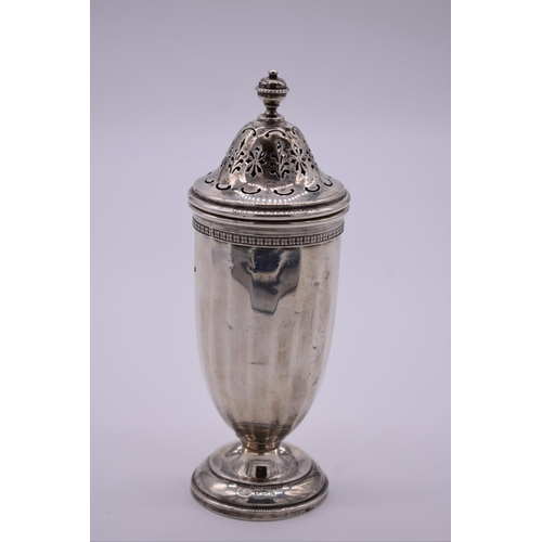 12 - <strong>A silver sugar caster</strong>, by <em>Alexander Clark & Co Ltd, </em>Birmingham 1927, 1...