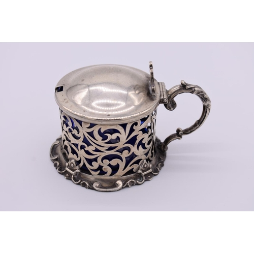 13 - <strong>A Victorian pierced silver drum mustard,</strong> by <em>Richard Pearce & George Burrows...