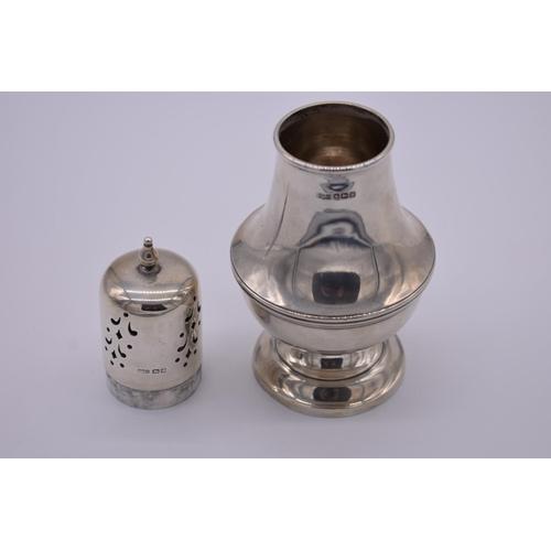 14 - <strong>A silver sugar caster,</strong> by<em>James Dixon & Sons Ltd, </em>Sheffield 1914, 15cm...