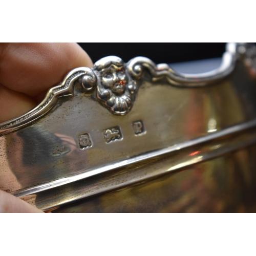 15 - <strong>A silver twin handled rose bowl,</strong><em>makers mark indistinct,</em>Birmingham 1914, ...